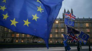 Des citoyens proeuropéens défilant devant le Parlement, à Londres, le 5 février 2018.