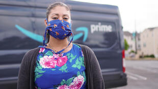 Adrienne Williams, livreuse employée par un sous-traitant d'Amazon, le 13 mai 2020 à Richmond, en Californie