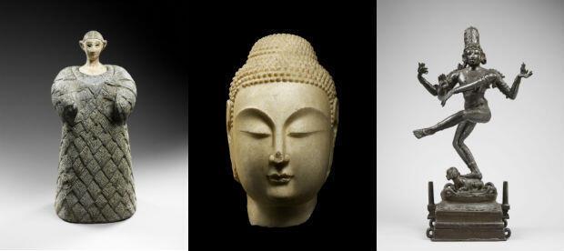 """De gauche à droite : Princesse"""" de Bactriane (Asie centrale);  Tête de Bouddha (Chine); Siva dansant (Asie)."""