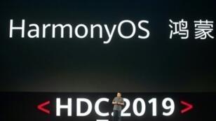 ريتشارد يو المدير التنفيذي لشركة هواوي خلال الإعلان عن نظام التشغيل الجديد الخاص بالشركة في دونغقوان بتاريخ 9 آب/أغسطس 2019.