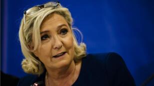 Marine Le Pen au cours d'un meeting à Sofia à l'invitation du parti populiste bulgare Volya, le 3 mai 2019.