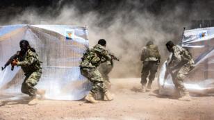 Des combattants syriens, lors d'un exercice militaire à la frontière nord de la Syrie avec la Turquie, le 24 juillet 2019.