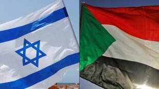 مجموعة من الصور أعدت في 23 تشرين الأول/أكتوبر 2020، تظهر علم السودان (اليمين)، وعلم إسرائيل (يسار)، خلال تجمع في مدينة تل أبيب الساحلية في 19 أيلول/سبتمبر 2020