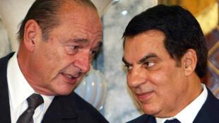 الرئيس الفرنسي السابق جاك شيراك والرئيس التونسي السابق زين العابدين بن علي، عام 2003