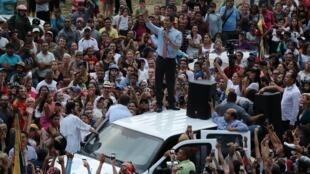 El líder opositor venezolano Juan Guaidó habla durante una protesta contra el Gobierno del presidente venezolano Nicolás Maduro en Caracas, Venezuela, el 12 de marzo de 2019.