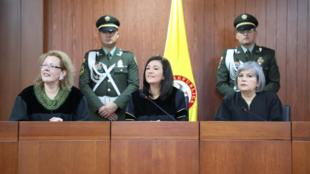 Las magistradas de las altas cortes en rueda de prensa sobre presiones ante sus fallos el 14 de mayo de 2019 en Bogotá, Colombia.