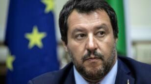 Matteo Salvini, durante una rueda de prensa que dio el pasado 28 de agosto en Milán