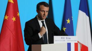 الرئيس الفرنسي إيمانويل ماكرون خلال خطاب ألقاه في مدينة شيان بالصين 8 كانون الثاني/يناير 2018