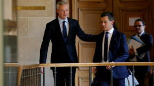 El ministro de finanzas, Bruno Le Maire (izquierda) y el ministro de las Cuentas Públicas, Gérald Darmanin (derecha) son dos miembros del gobierno amenazados de exclusión del partido de derecha Les Républicains.