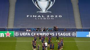 Les joueurs du Paris-SG à l'entraînement au stade Luz de Lisbonne, le 22 août 2020