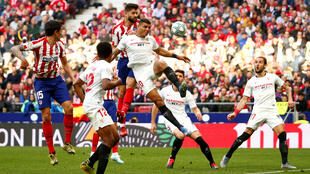 Atletico Madrid v Sevilla in Le Liga match in Madrid, Spain, on March 7 2020, before the coronavirus crisis forced a postponement of this series.