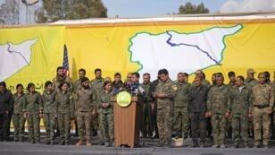 """قائد قوات سوريا الديمقراطية مظلوم كوباني يعلن القضاء على """"خلافة"""" تنظيم """"الدولة الإسلامية"""" 23 مارس/آذار 2019"""