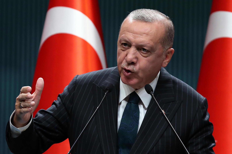 Le président turc, Recep Tayyip Erdogan, tenant une conférence de presse le 24 août 2020 à Ankara.