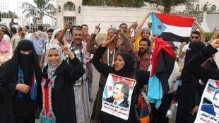 Yemeni supporters of the separatist Southern Movement protest in Aden on Sunday against the Shiite Huthi militia which seized power in the country last September.