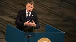 Le président colombien Juan Manuel Santos lors de son discours d'acceptation du Nobel samedi 10 décembre à Oslo.