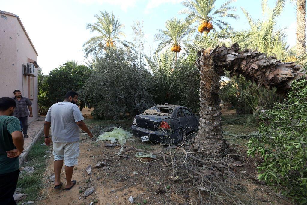 Un obus de mortier s'est abattu dans la capitale libyenne, le 30 août 2018.