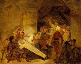 Ouverture du cercueil d'Henri IV lors de profanations de la Basilique de Saint-Denis en 1793. (Source : Réunion des musées nationaux).