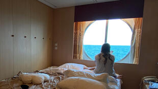This photo provided by Brazilian DJ Caio Saldanha shows his cabin on the Celebrity Infinity cruise ship. He says he feels like a prisoner on the ship where he works, with no news about when he can go home