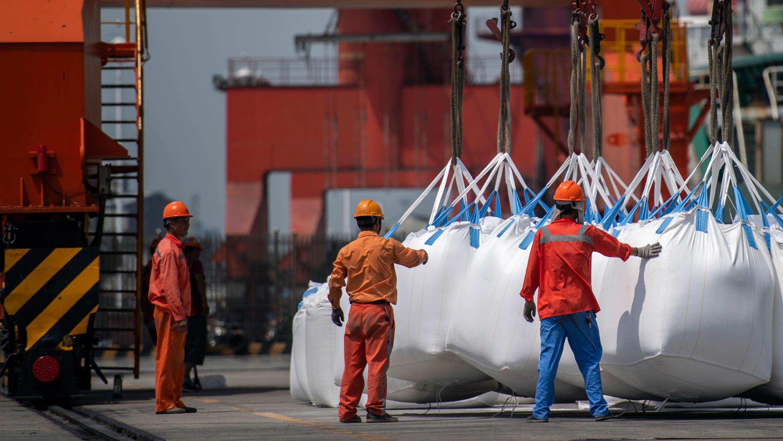 Trabajadores que descargan bolsas de productos químicos en un puerto de Zhangjiagang, en la provincia oriental china de Jiangsu, el 7 de agosto de 2018.