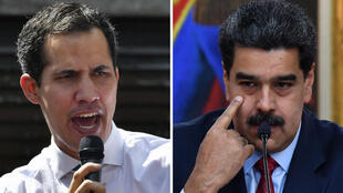 """Juan Guaido (à gauche), à la tête du Parlement vénézuélien, s'est autoproclamé """"président par interim"""". Il ne reconnait pas la légitimité de Nicolás Maduro (à droite)."""