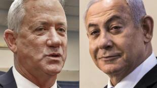 El primer ministro Benjamin Netanyahu (R) acordó gobernar conjuntamente con su antiguo rival, el general retirado Benny Gantz.
