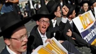 تظاهرة اليهود المتشددين ضد فرض الخدمة العسكرية الإلزامية في القدس في 19 تشرين الأول/أكتوبر 2017