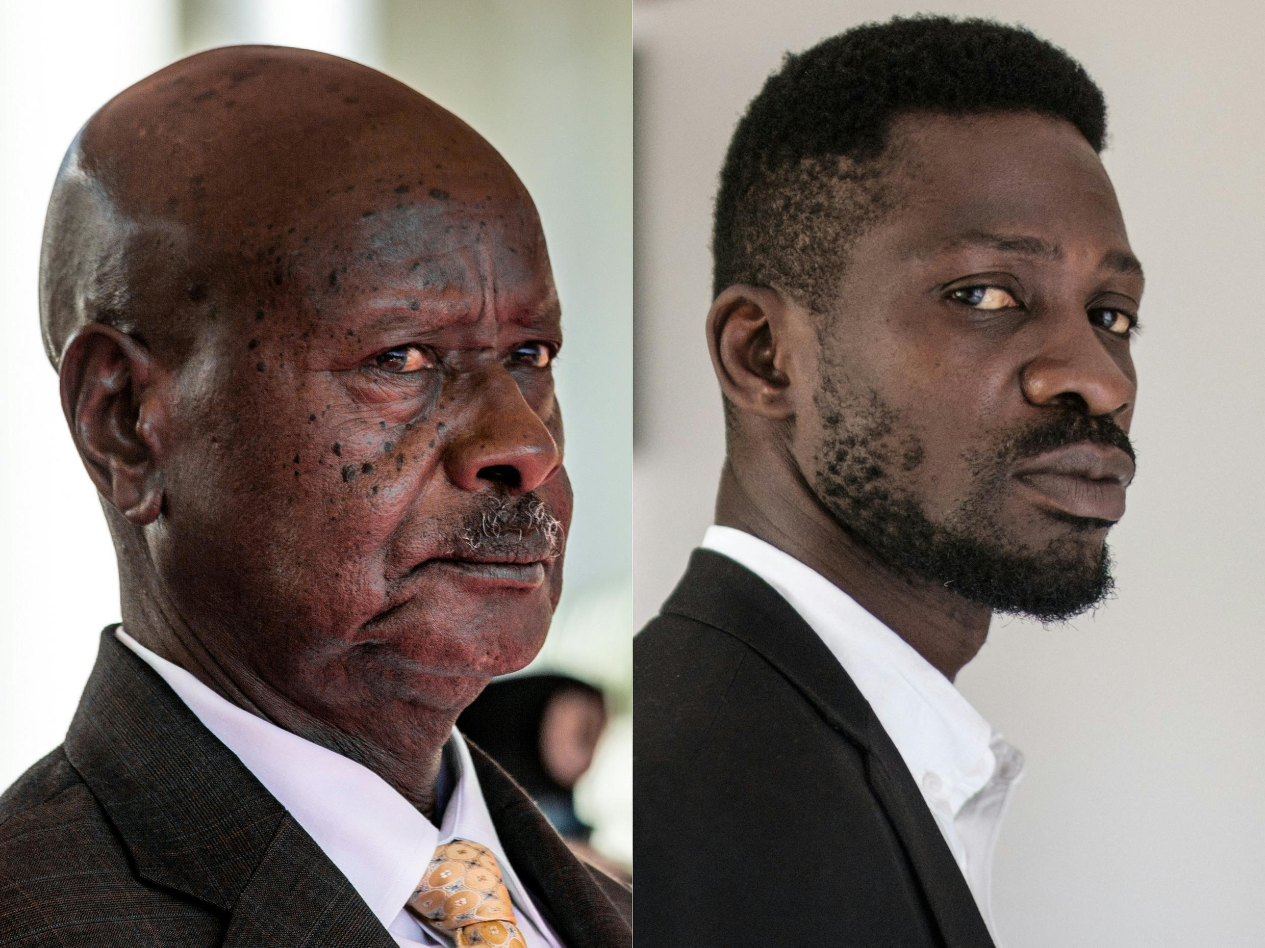 President Yoweri Museveni and singer-turned-politician Bobi Wine (real name Robert Kyagulanyi) are the main contenders in the Ugandan presidential election on January 14, 2021.