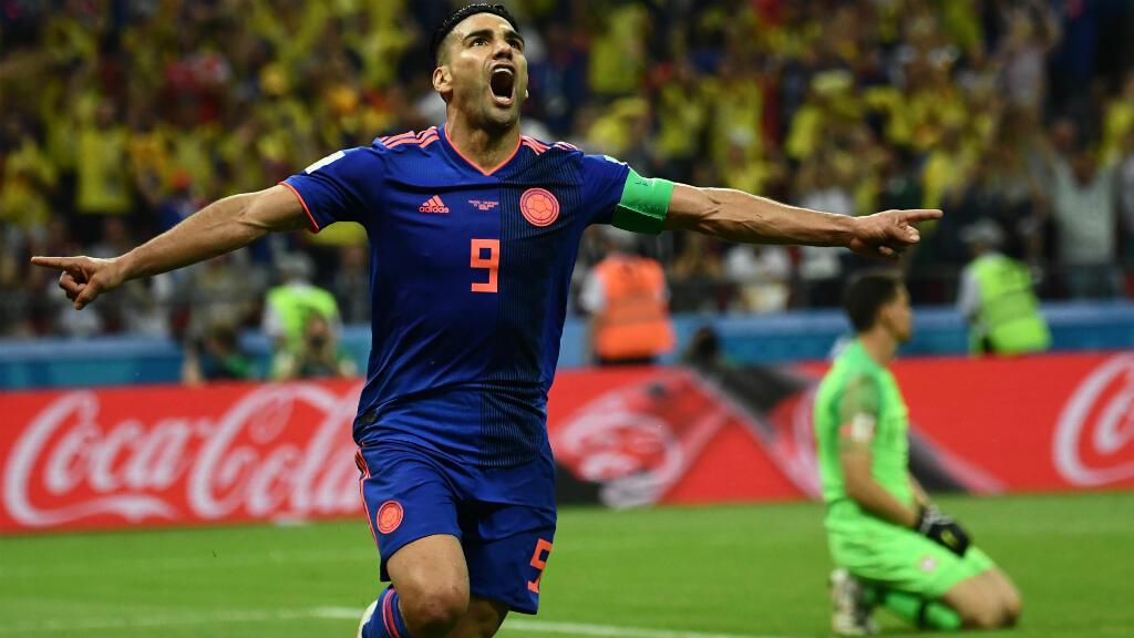 L'attaquant colombien Falcao célèbre son but face à la Pologne.