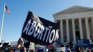 Demonstrators outside the US Supreme Court in Washington, DC, on March 4, 2020, as justices hear a major abortion case on the legality of a Republican-backed Louisiana law that imposes restrictions on abortion doctors.