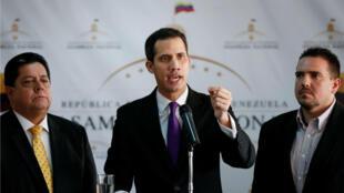Juan Guaidó, presidente de la Asamblea Nacional y líder del partido de oposición Voluntad Popular, habla durante una conferencia de prensa en Caracas, Venezuela, el 10 de enero de 2019.