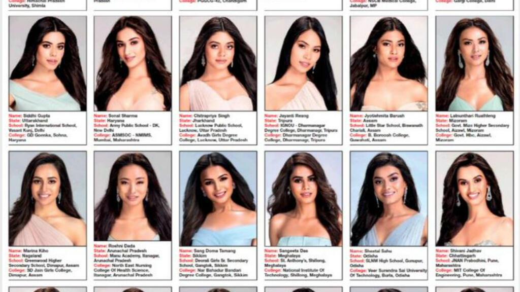 Les photos des candidates à l'élection Miss India 2019.