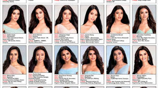 Les photos des candidates à l'élection Miss India 2019.