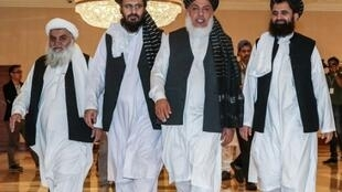 File photo of Taliban members at the 2019 Afghanistan peace talks in Qatar.