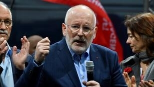 European Commissioner and European Socialist party's candidate for the European parliament elections, Frans Timmermans speaks during a campaign meeting of German Social Democratic Party's (SPD) on May 6, 2019 in Berlin
