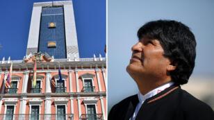 Vista del nuevo edificio del Palacio de Gobierno de Bolivia y del antiguo, que se lucen en la plaza Murillo de La Paz, Bolivia.