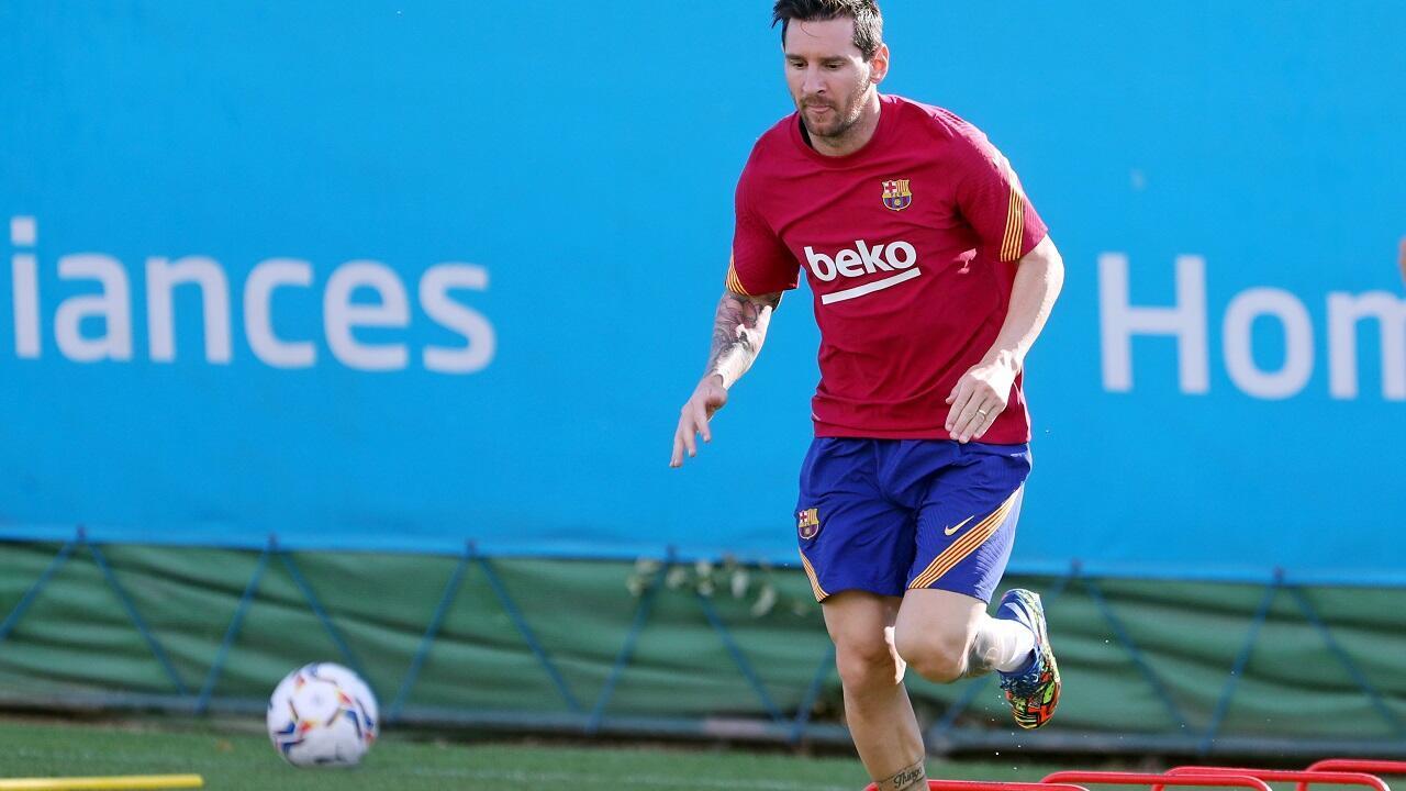 لاعب نادي برشلونة ليونيل ميسي خلال حصة تدريبية. إسبانيا في 7 سبتمبر/أيلول 2020
