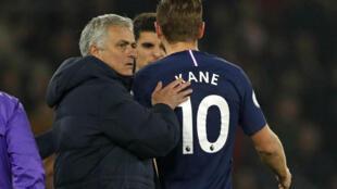 Tottenham Hotspur boss Jose Mourinho with Harry Kane