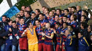 Les joueurs du FC Barcelone célèbrent leur victoire (3-0) face à River Plate, le 20 décembre à Yokohama, Japon.