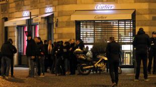 Deux hommes ont braqué une bijouterie Cartier du 8e arrondisement, à Paris, le mardi 25 novembre 2014.