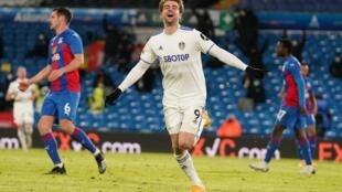 Leeds striker Patrick Bamford celebrates against Crystal Palace