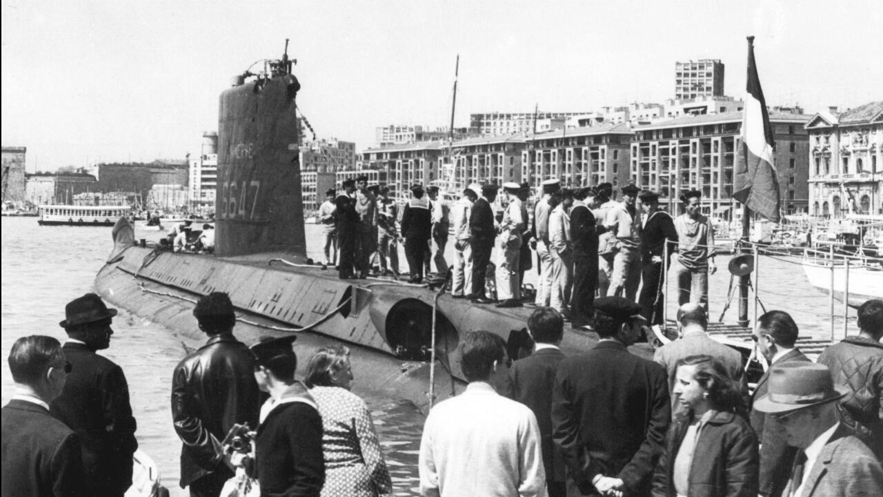 Cette photo non datée montre le sous-marin La Minerve dans les années1960, dans le port de Marseille.