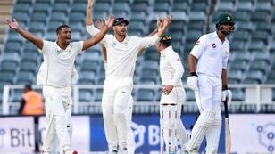 That's out: South Africa's Vernon Philander celebrates the dismissal of Shan Masood