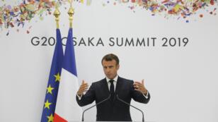 Emmanuel Macron, le 29juin2019, à l'issue du sommet duG20 à Osaka.