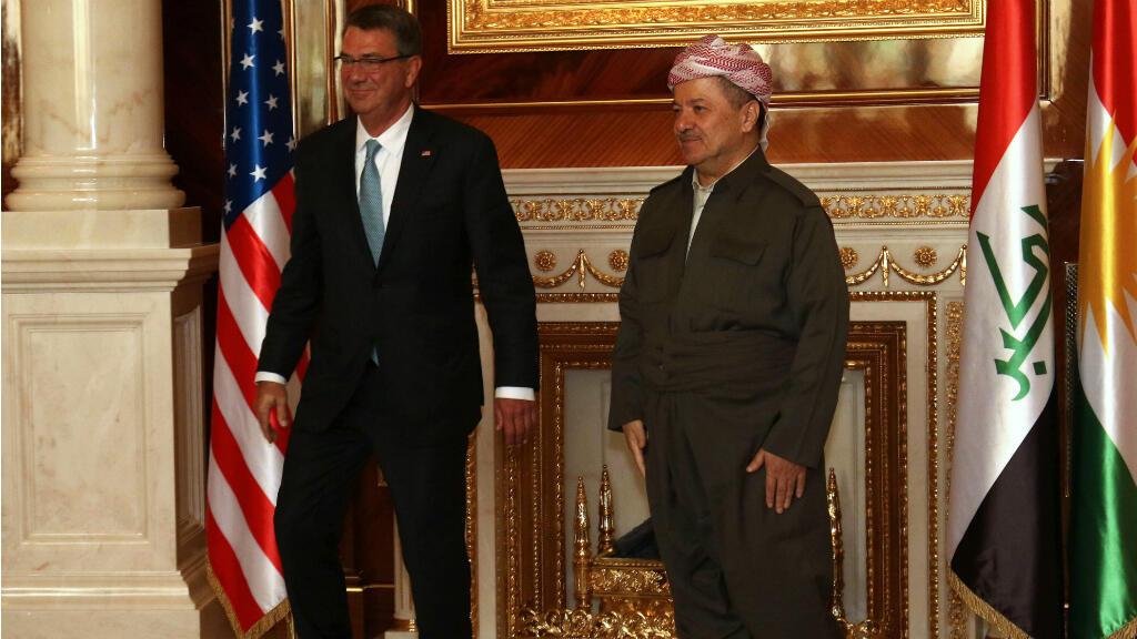 رئيس إقليم كردستان العراق مسعود بارزاني ووزير الدفاع الأمريكي آشتون كارتر