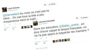 Les fils de Nicolas Sarkozy et de Valérie Trierweiler s'affrontent par comptes Twitter interposés.
