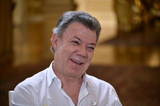 الرئيس الكولومبي خوان مانويل سانتوس في مقابلة مع فرانس برس في 5 ايلول/سبتمبر 2016
