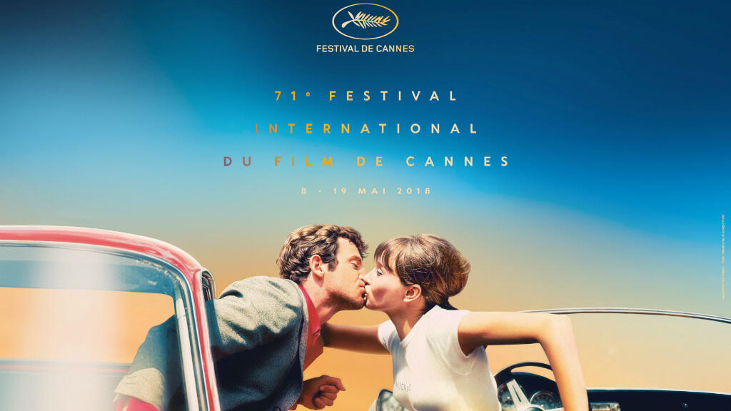 """El afiche del 71 Festival de Cannes es el beso entre Jean-Paul Belmondo y Anna Karina en la cinta de Jean-Luc Godard """"Pierrot el loco"""" (1965)"""