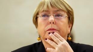 La Alta Comisionada de Naciones Unidas para los Derechos Humanos, Michelle Bachelet, durante una sesión del Consejo de Derechos Humanos en Ginebra, Suiza, el 9 de septiembre de 2019.