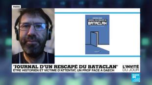 """Christophe Naudin, auteur de """"Journal d'un rescapé du Bataclan, être historien et victime d'attentat,"""" (éd. Libertalia)."""