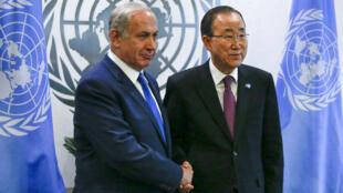 Benjamin Netanyahou et Ban Ki-moon au siège des Nations unies, à New York, le 1er octobre 2015.